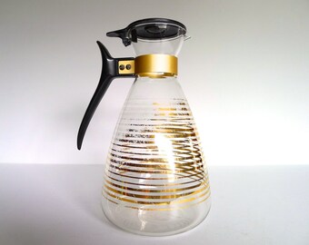 Vintage Pyrex Gold Striped Coffee Pot Carafe
