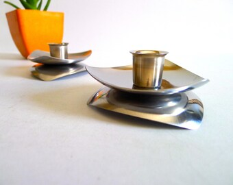 Vintage Set of Two Stainless Steel Candleholders by Avon