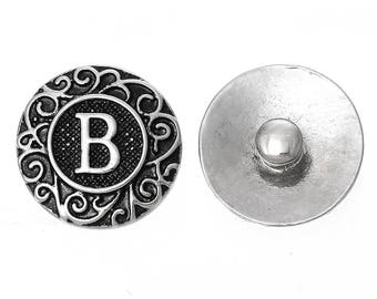 "1pc 19mm Antique Silver Alphabet /Letter ""B"" Snap Button Charms Knob Size: 5.5mm( 2/8"")"