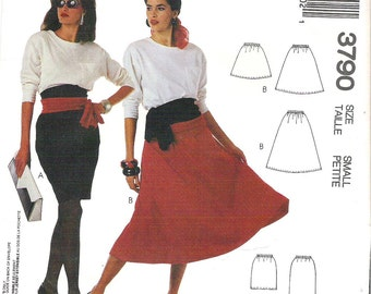 Uncut McCall's 3790 Misses' Skirts and Sash Two Styles For Stretch Knits, Size Small, 10-12