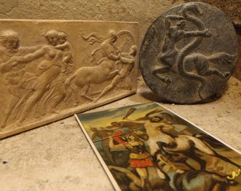 Centaur Greek / Roman mythology - Battle of the Centaurs relief & amulet + card