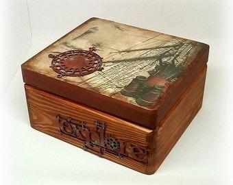 Vintage style wooden box ,masculine box , keepsake box , decoupage box , treasury box ,  rice paper , steampunk style , Made in Ireland