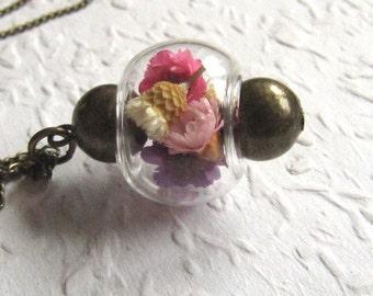 Echte Blüten Halskette mit Messing lang Valentinstag