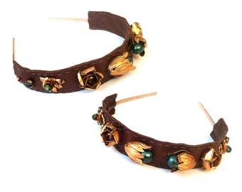 GILDED-MANE Brown Leather Headband w/ Vintage Brass Floral Beads