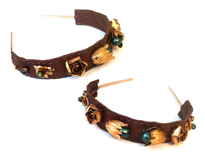 Featured listing image: GILDED-MANE Brown Leather Headband w/ Vintage Brass Floral Beads