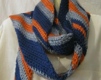 Extra long crochet striped scarf, long scarf, crochet scarf, striped scarf, long striped scarf, long crochet scarf, diagonally striped scarf