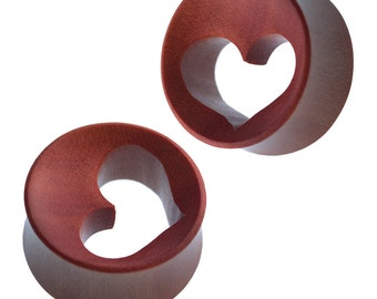 Wood tunnel Maroon heart punched out concave carved tribal piercing (No. HPT-360)