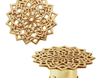 Brass tunnel snow flower antique gold plated plug brass Expander jewelry (No. MPT-47ko)