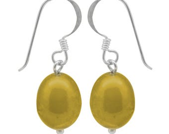Pearl yellow beads earrings 925 sterling silver Pearl Earrings 14 mm iridescent (No. OPR-78)