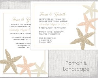 """Beach Wedding invitation template """"Starfish"""" printable Sand Ecru and Champagne invitations template digital YOU EDIT instant Word download"""