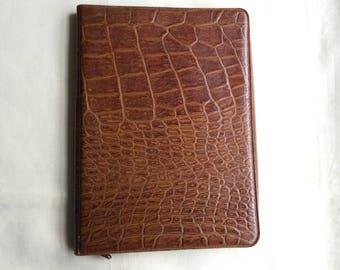 Vintage 1960s faux croc writing case, small tablet, authentic vintage case.