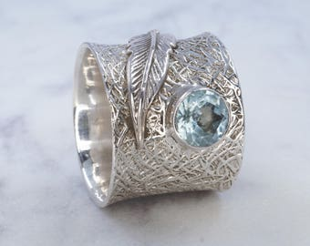Aquamarine & 925 Sterling Silver Ring with Feather Detail, Dress Ring, Gemstone Ring - US 8 1/2 (Q 1/2)#B162