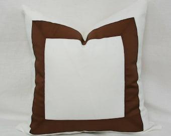 "Brown & white ribbon border decorative throw pillow. 18"" x 18"" . 20"" x 20"". 22"" x 22"". 24' x 24"". 26"" x 26""."