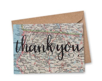 Thank You Card - Vintage Map Card - Wedding Thank You - Calligraphy - Map Thank You - Wanderlust - Travel Card - World Map Card - VM-012