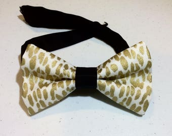 gold white cheetah bow tie men cotton pre tied neckband clip on prom wedding special occasion unique dressy bowtie