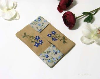 Sale, Blue Flowers Tissue Case, Handkerchief Holder, Pocket Tissue Holder, Linen embroidered Tissue Case and Monogrammed handkerchief