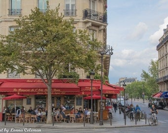 Paris Photography, Paris Print, Paris Decor, Parisian cafe with classic red awning; Ile St Louis