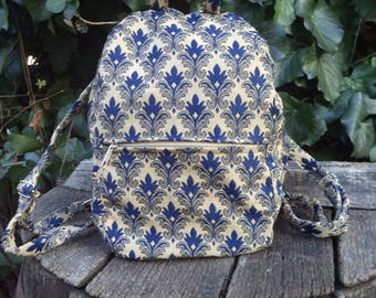 Blue floral,small backpack,gym bag,lunch bag