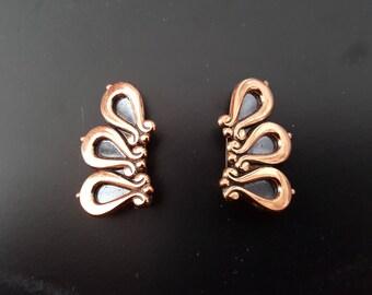 Earrings vintage copper Renoir volutes