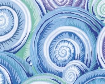 1/2 Yard Spiral Shells in Sky Blue Philip Jacobs  fabric  PJ073