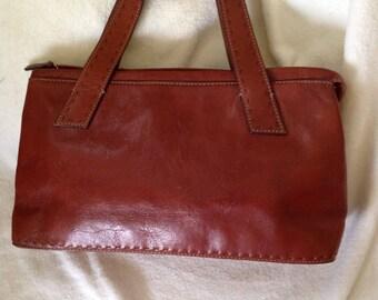 Vintage Fossil Brown leather satchel handbag