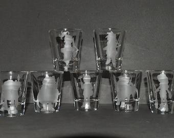 Chrono Trigger etched shot glass set of 7