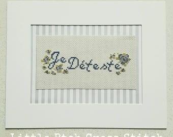 Je Déteste Cross Stitch, French Cross Stitch, Floral Cross Stitch, French Decor, French Art, Alternative Cross Stitch, Alternative Decor