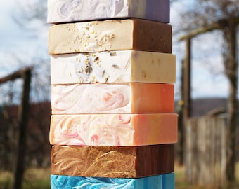 Homemade Farm Fresh Goat Milk Soap - You Choose Five Bars - Homemade Soap Sampler