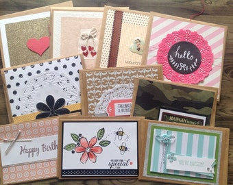 Handmade cards, set of 10 cards, blank cards, value pack, greeting cards, set of 10, variety pack,