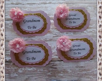 Pink & Gold Grandma To Be  and Great Grandma To Be Corsage Badge Baby Shower Corsage