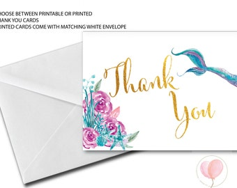 Mermaid Thank You Card // Folded Thank You // Mermaids // Blush // Pink // Watercolor // Gold // Printed // QUEENSLAND COLLECTION