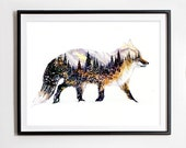 The Little Fox / Mountains & Forest  Spirit Animal - Giclee Art print - Cool Winter Watercolor Painting - Home decor Wall Art - 8x10 11x14
