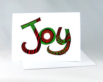 Joy Holiday Card, Fun Red & Green Card, Hand Drawn Card, Christmas Art Card, Zentangle Holiday Card, Zentangle Letter Card