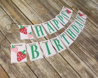Berry Birthday, Strawberry Banner, Strawberry Birthday, Strawberry Happy Birthday Banner, First Birthday, Summer Birthday, Fruit Banner