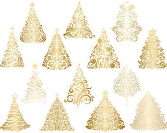 instant download gold christmas tree clip art flourish swirls gold christmas tree clipart golden - Gold Christmas Tree