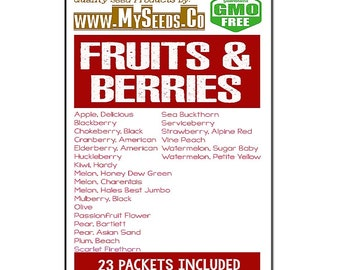 FRUITS & Berries Seed COMBO Seeds KIT Contains: Apple Delicious, Blackberry, Chokeberry Black, Cranberry American, Kiwi Hardy, plus More