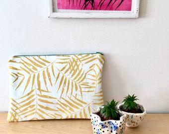 Handmade, Screen Printed, Bamboo Leaf Print Pouch / Make up / Clutch Bag
