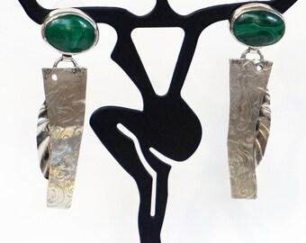 LONG MALACHITE EARRINGS Artisan Malachite Embossed Sterling Silver Dangle Stud Earrings Unique Estate Green Malachite Earrings Holiday Gifts