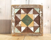 Farmhouse quilt wall hanging, salvaged barn quilt, southwest wall art