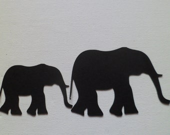 Silhouette Die Cut Mother & Baby Elephants x 10 (5 of each)