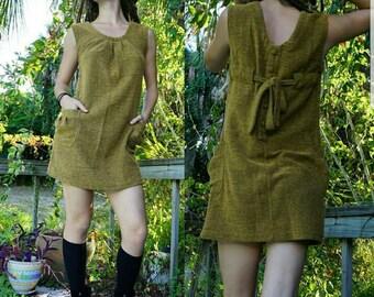 SALE Vintage earthy yellow mini dress