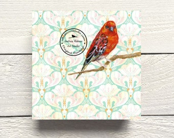 Red Fody Bird Print on Hardboard Canvas by Andrea Holmes