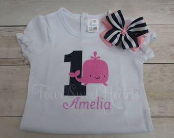 Nautical Birthday Shirt, Girls Whale First Birthday, Girl Whale Shirt, Girl Nautical Shirt, Girl Sailor Birthday Shirt, Whale shirt
