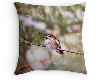 Hummingbird Decor, Hummingbird Pillow, Hummingbird Cushion, Winter Decor, Wildlife Pillow, Wildlife Decor, Nature Decor, Snow, Winter