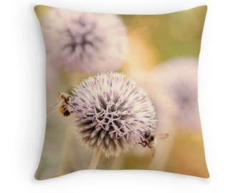 Flower Decor, Bee Decor, Allium, Pastel Decor, Gardener Gift, Pastel Pillow, Nature Cushion, Pastel Cushion, Honey Bee, Nature Decor