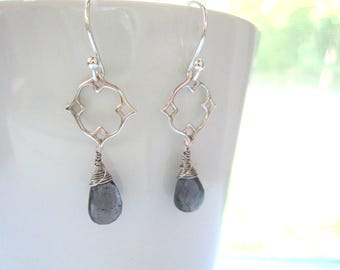 Iolite Earrings, Wirewrapped, Iolite Briolettes, Blue Stones, Dangle Earrings, Sterling Silver, Lightweight and Delicate