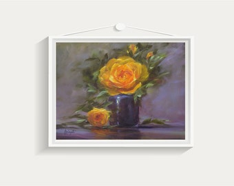 Still life print, still life painting, Roses, gift for her, print, painting, wall art, art print, giclee print, oil painting, home decor