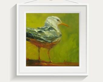 Bird print, Bird nursery decor, Bird painting, Wall art, Nursery painting, art print, giclee print, yellow bird, Seagull, oil paintings