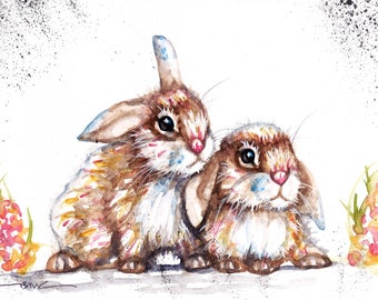 Original Watercolour Rabbits  Print by Artist Be Coventry Wildlife Animal Art