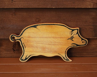 Wooden Pig Cutting Board, Vintage Pig Cutting Board, Pig Wall Hanging, Barbecue Serving Board
